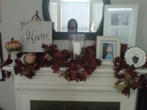 leaf, garland, pumpkins, ceramic, hurricane, vase, candle, frames, urns, decorative plate, Fall, vignette