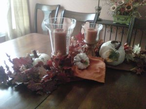 centerpiece, hurricane vases, cloches, ceramic pumpkins, table runner, Fall, candles, leaf, garland