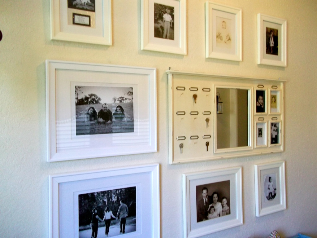 gallery wall, photography, art, mirror, key holder