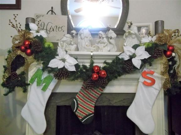holiday, decor, mantel, garland, nativity, stocking, stocking initials, Christmas