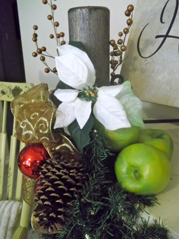 d.i.y. garland, apples, berries, candles, ribbons, bows, poinsettas, Christmas, holiday, decor, mantel