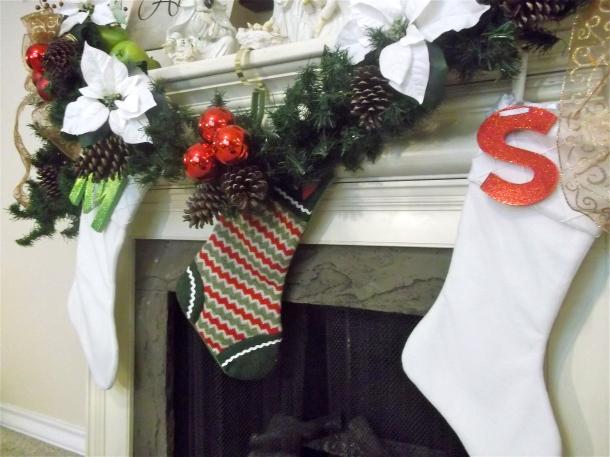 stockings, stocking initials, garland, mantel, holiday, decor, Christmas