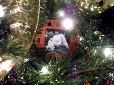framed photo, ornament, tree, decor, holiday, Christmas