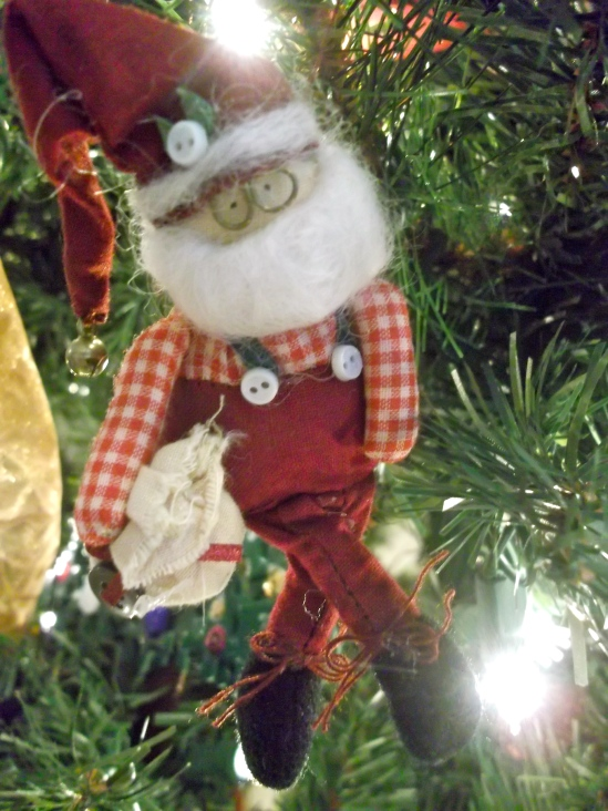 santa pin, ornament, christmas tree, artificial, pre lit, holiday, decor