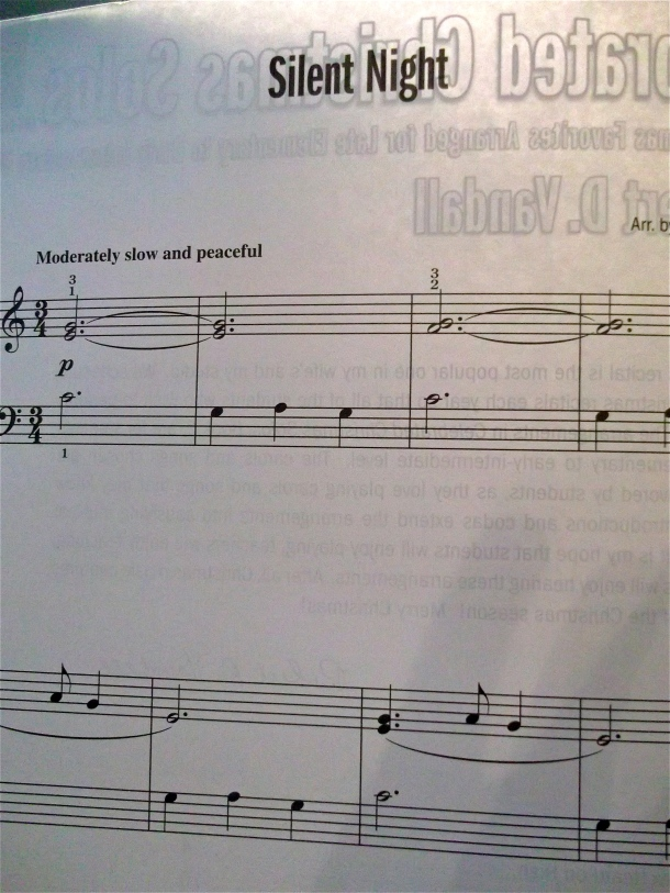 piano, sheet music, silent night, holiday, Christmas, songs, carols,