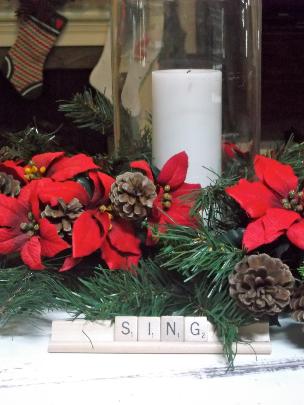 ponsettias, poinsettas, candle, hurricane, vase, filler, wreath, holiday, Christmas