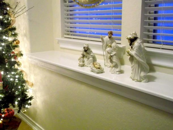 nativity scene, foyer, holidays, christmas, decor