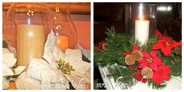 hurricane, vases, candles, ponsettias, poinsettas, red, white, home decor, holiday