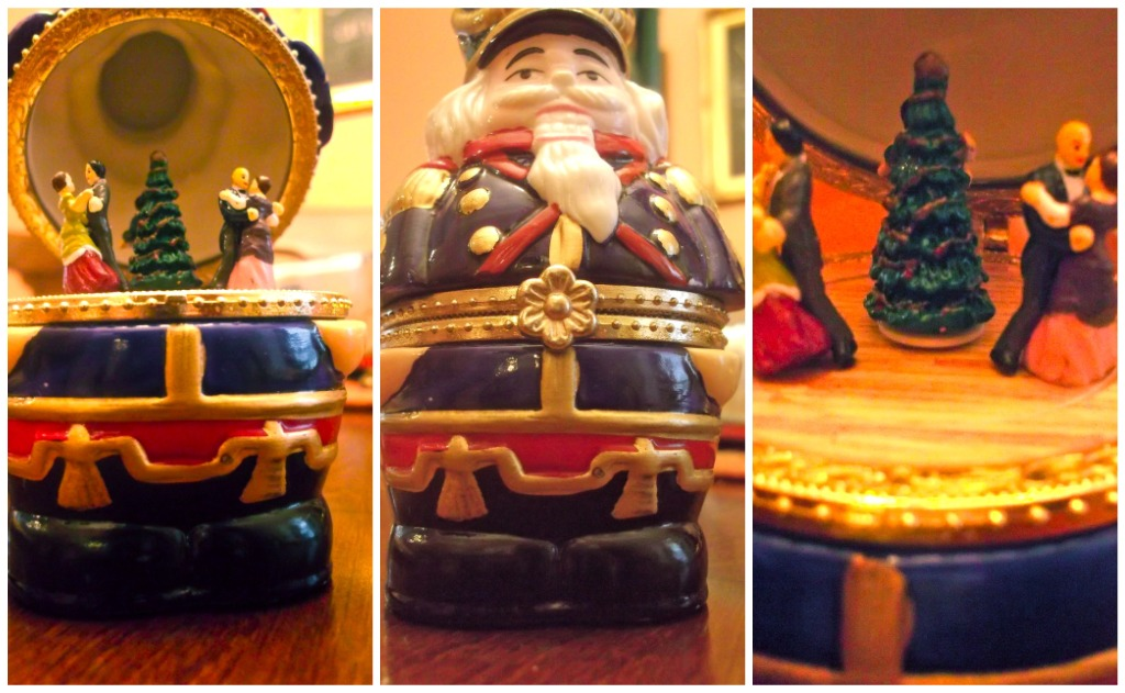 nutcracker, ballet, music box, vignette, centerpiece, tablescape, holiday, decor, Christmas