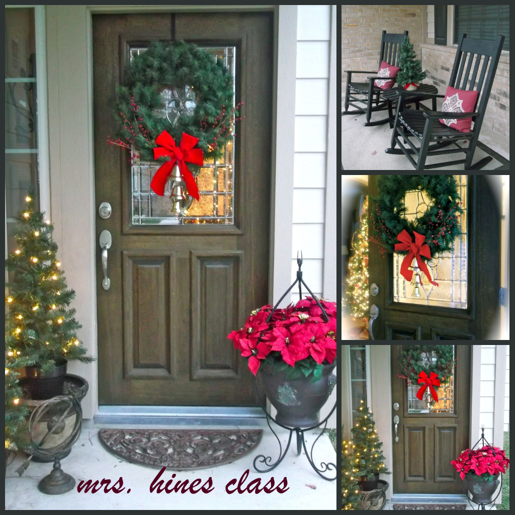 Front porch makeover mrs hines 39 class for Easy front porch christmas decorations