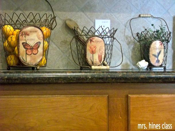 wire baskets, cloche, french country, home decor, kitchen, vignette