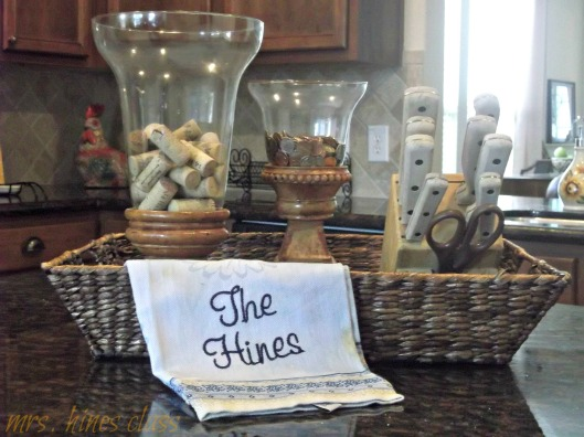kitchen island, french country, home decor, tea towel, embroidery, bell jars, knife block