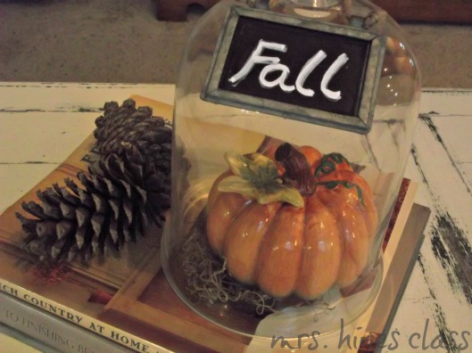cloche, pinecones, ceramic pumpkins, cloche, home decor books, french country, chalk paint pen, coffee table, vignette