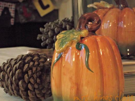 coffee table, vignette, fall, home decor, cloche, pinecones, ceramic pumpkins, mantel
