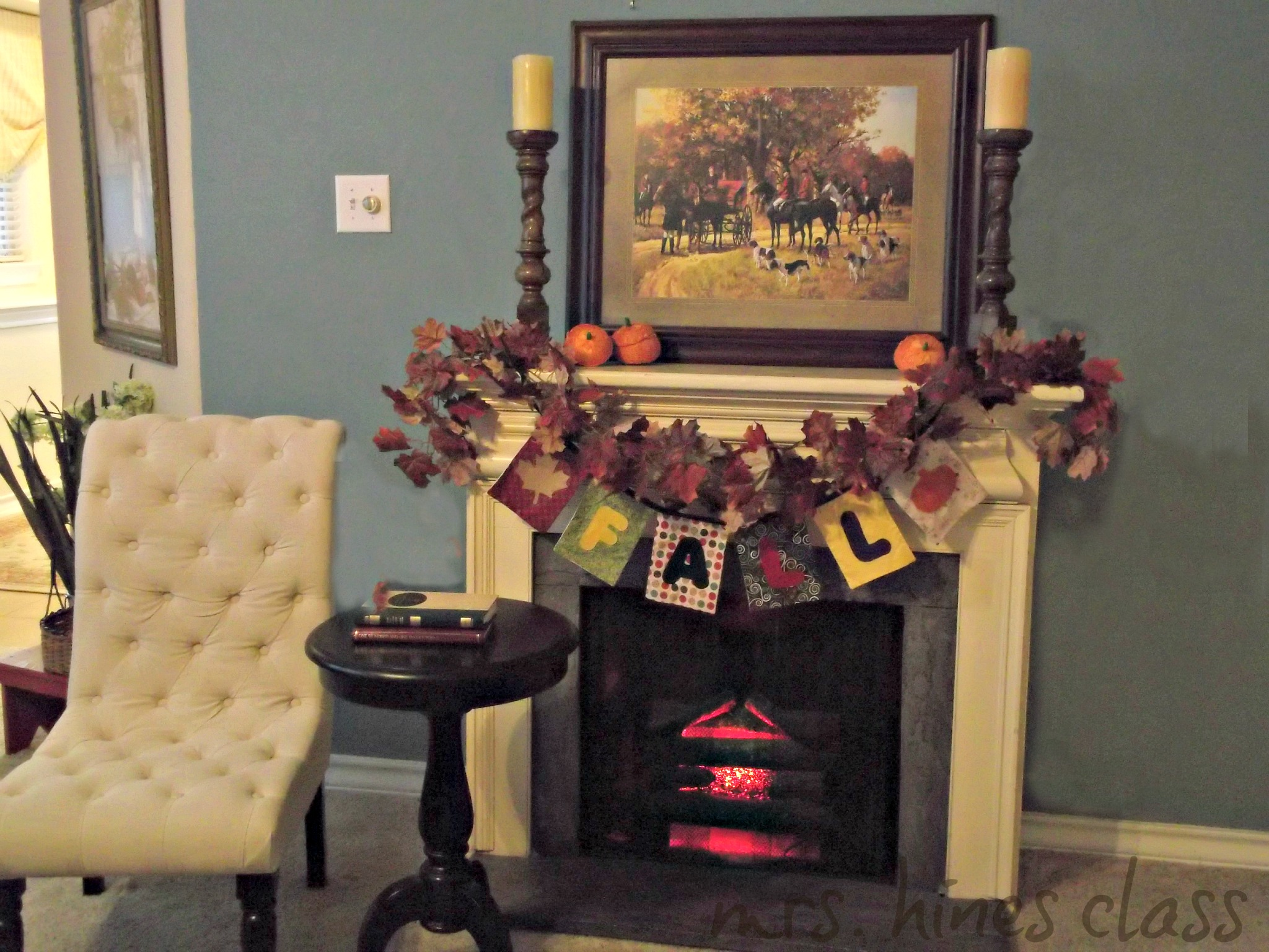 autumn, fall, mantel, decor, vignette, leaf garland, candles, barley twist candle sticks, bunting, pumpkins, rattan