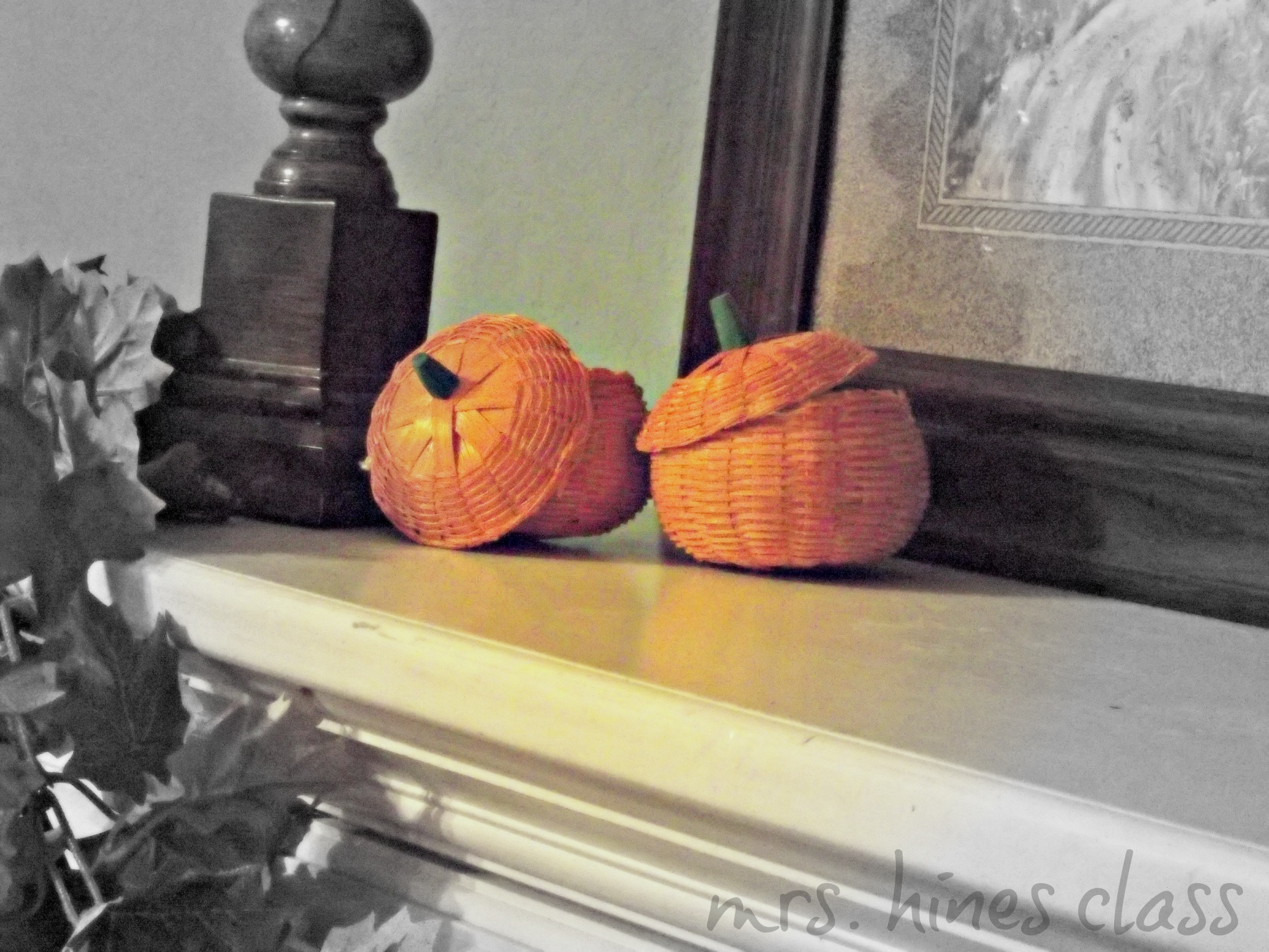 rattan pumpkins, mantel, candles, candlesticks, barley twist, garland, leaves, fall, art, fireplace