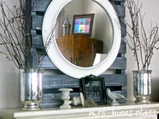 mercury glass vase, twigs, pallet, winter, home decor, d.i.y., urns, mantel, mirror