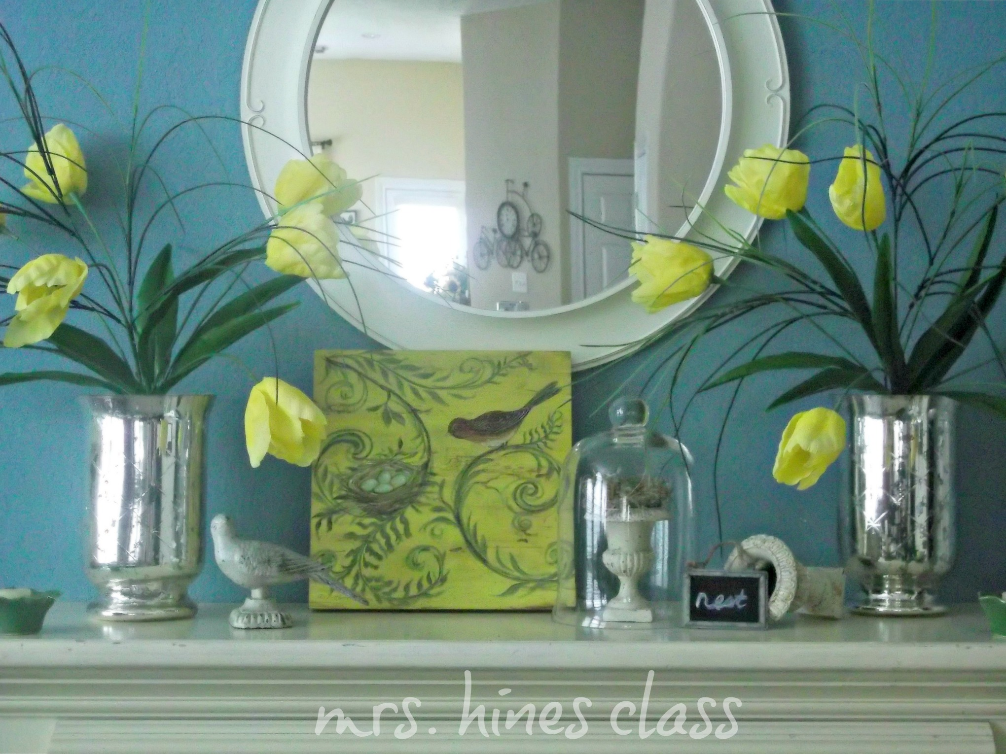 nest, cloche, mirror, tulips, mercury vases, bird, art, mantel, home decor, d.i.y.
