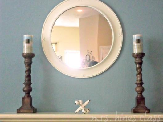 candle sticks, round mirror, mantel, decorative jack, summer decor