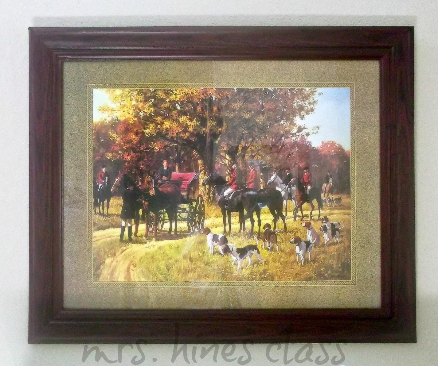 art, Fall, english, vintage, hunting scene