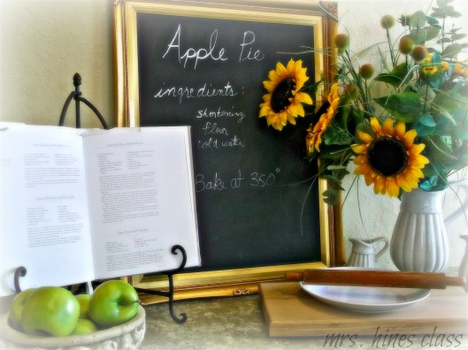vignette, sunflowers, chalkboard, buffet, decor, french country, home, kitchen