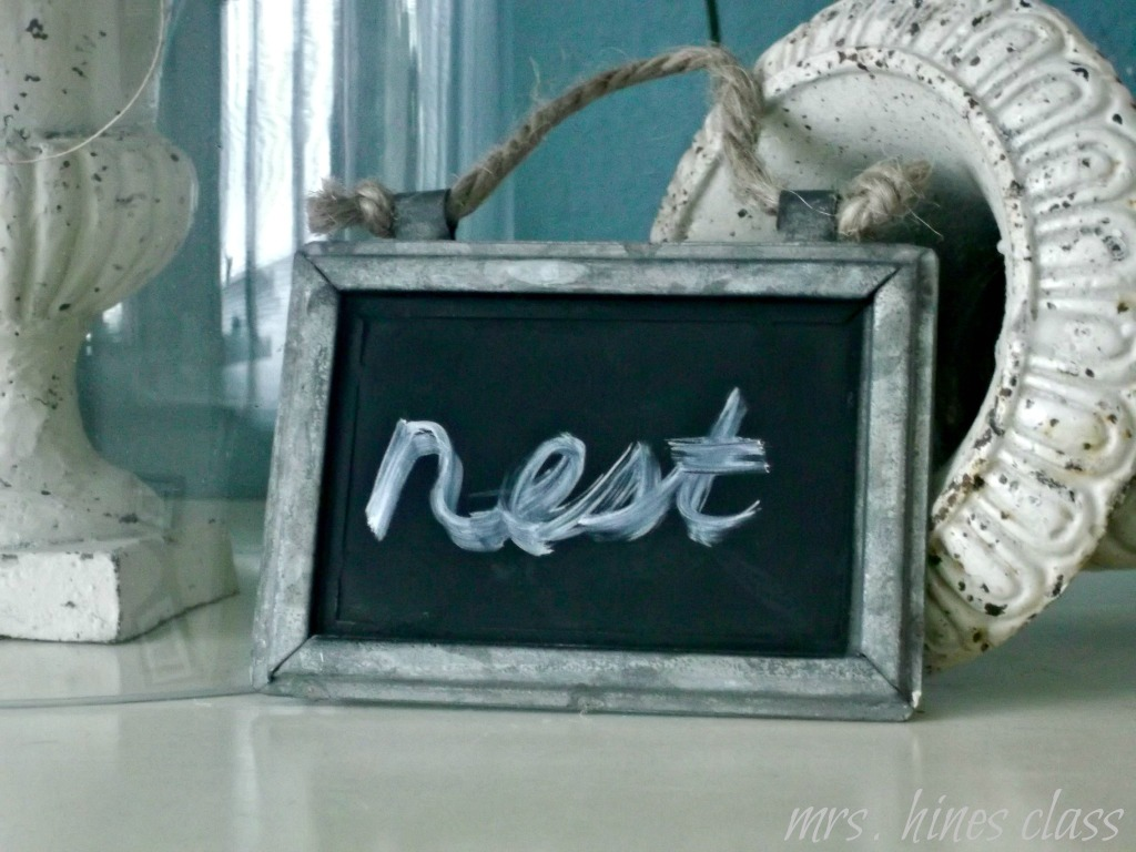 cloche, chalkboard, vignette, home, decor, sping, nest