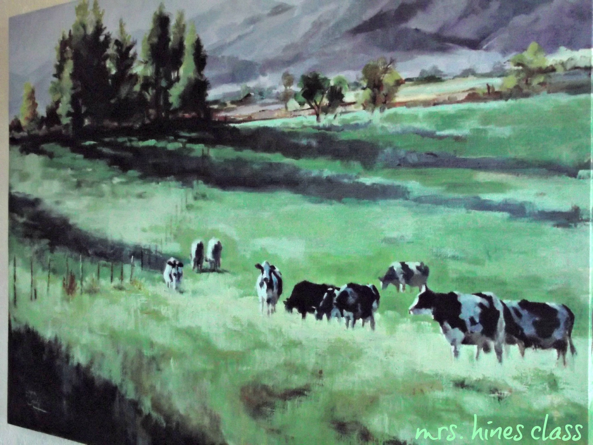 countryside, cows, pasture, art, picture,