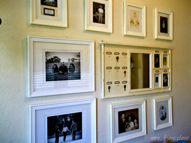 wall decor, gallery wall, Pottery Barn, black and white photos, family photos, art